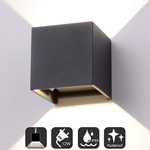 Midore Wandleuchte Aussen Innen 12W LED-COB Wandlampe Up Down Einstellbarer Lichtstrahl IP65 Modern Aluminium Wandbeleuchtung für Flure/Balkone/Wohnzimmer 4000K