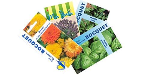 Les Graines Bocquet- Lot de 4 sachets de Graines Anti Moustiques- Graines à semer