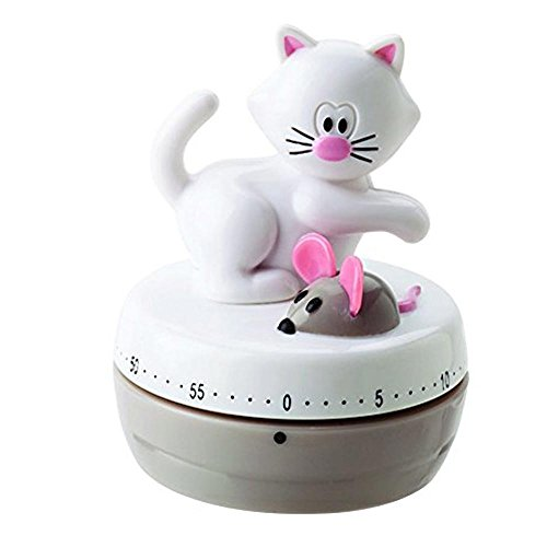 Eieruhr Kurzzeitwecker Küchentimer Küchenwecker, mechanisch, Katze mit Maus, 60 Minuten, Kunststoff, ca. 6 x 7.5 cm, weiß grau