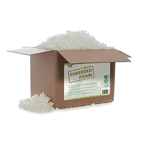 Milliard Shredded Foam: (5 Pounds) Refill for Pillows, Cushions, Chairs, Dog Beds, Crafts, CertiPUR Certified (Not Intended as Bean Bag Filler)