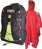 Mochila Y Poncho-Pack EKEKO Camino Santiago, Set DE Mochila 30L Y Poncho Impermeable Rojo DE PVC. (Negro/Verde)