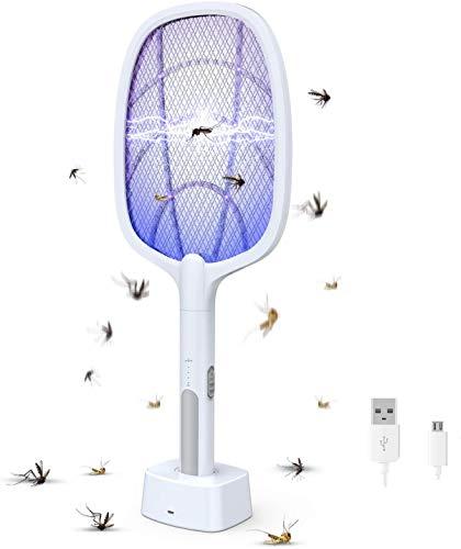 Raqueta Matamoscas Eléctrico, 3000V Mosquitos Eléctrico USB Recargable, 3 Capas de Malla de Seguridad de Protección, para para Mosquitos, Moscas, Abejas, Uso Exterior/Interior