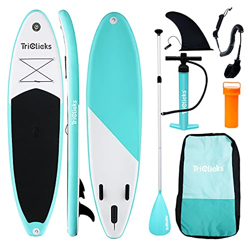 Triclicks 10ft / 3m Stand Up Paddle Boards Inflatable SUP Board Surfboard - Beginner's Kit. Adjustable Paddle, Hand Pump With Pressure Guage, Fin, Coil Leash, Repair Kit, Backpack (Style 1)