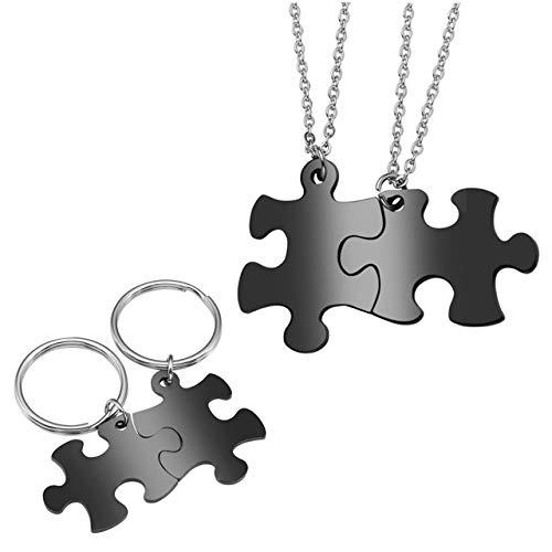 Jovivi Gratis Gravur - Personalized Edelstahl Puzzle Anhänger Partnerketten + Paar Puzzle Schlüsselanhänger Schwarz