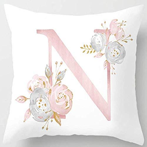 MineSpace - Fundas de almohada decorativas para sofá, dormitorio, coche, silla, decoración del hogar, diseño con letra a elegir, 45 x 45 cm, protectoras, diseño de flores