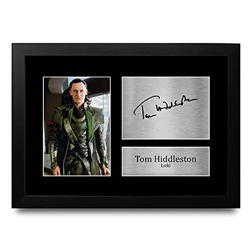 HWC Trading A4 FR Tom Hiddleston Loki Regalo Avengers Avengers Loki Stampati Autografi Immagine per Gli Appassionati di TV Autografato - A4 Incorniciate