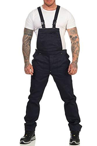 Mivaro Herren Latzhose für die Arbeit, mit vielen Taschen, elastische Träger und Bund, Größe:5XL, Farbe:Dunkelblau