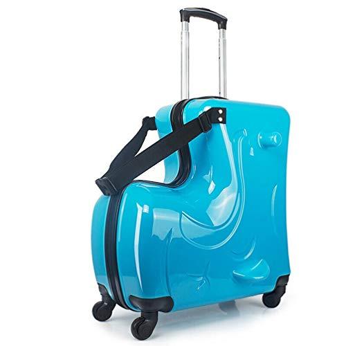 FREEUP Trolley Kinderkoffer 20 inch, Kindertrolley für Jungen, ABS Kindergepäck für Reisen, Outdoor, Schule, 54x50cmx24cm (Blau)
