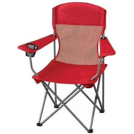 Ozark Trail Basic Mesh Folding Camp Chair with Cup Holder for Outdoor, Red