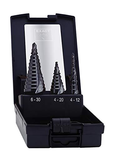 Exact 07012 07024 Stufenbohrer Set, Ø 4-20mm, Spiralnute, HSS, TiN, ROTASTOP