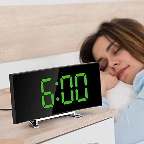 Digitaler Wecker, Alarmwecker, Groß Display Tischuhr, USB Reisewecker, USB & Batteriebetrieben Uhr, Dimmbar Digitalwecker für Schlafzimmer Büro Wohnzimmer (Grün)