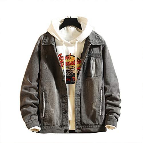 MISSMAOM_Fashion2019 Herren Hemd Denim   Vintage Jeans-Hemd für Männer Slim-Fit Langarm   Freizeit Hemd Verwaschen Casual aus Baumwolle,Grau 2,S
