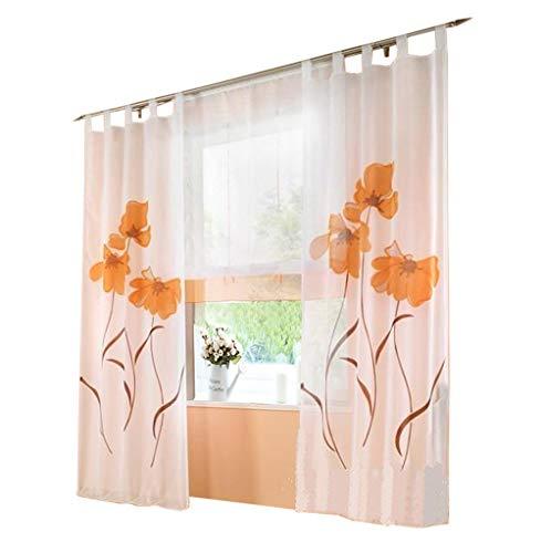 BAILEY JO 1er-Pack Gardine Floral Gardinen Schlaufen mit Blumen Druck Transparent Voile Vorhang (BxH 150x245cm, orange)