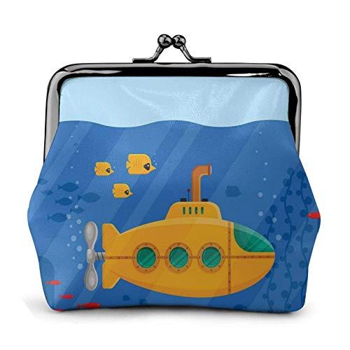 Gelbe U-Boot-Periskop-Geldbörse Geldbörse Schnalle Kiss-Lock Kleines Leder-Wechselbeutel-Geschenk für Frauen