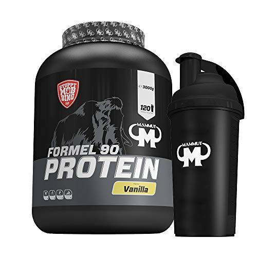3kg Mammut Formel 90 Protein Eiweißshake - Set inkl. Protein Shaker, Powderbank oder Grifpolster (Vanilla, Gratis Mammut Shaker)