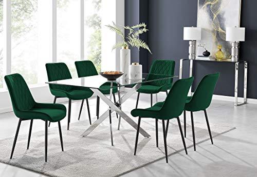 Furniturebox UK Leonardo 6 Dining Table and 6 Green Pesaro Black Leg Chairs