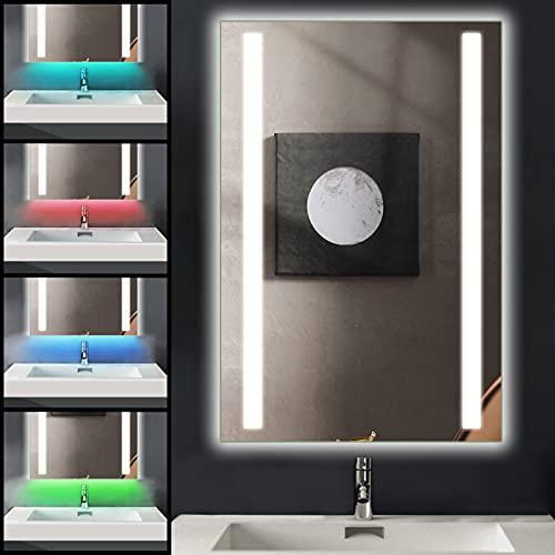 Ankishi 7 IN 1 RGB Specchio da Bagno con illuminazione a LED, 50 x 70cm Specchio da Parete, IP44 Impermeabile 2700-6500K Dimmerabile lampada a LED con Anti-Appannamento e presa per rasoio da 240V