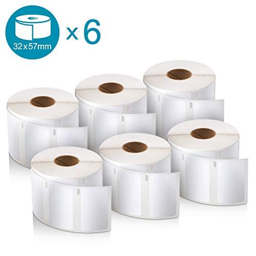 Dymo LW-Mehrzwecketiketten, 32 mm x 57 mm, 6Rollen mit je 1.000Leicht Ablösbaren Etiketten (6.000Etiketten), selbstklebend, für LabelWriter-Beschriftungsgeräte, Authentisches Produkt