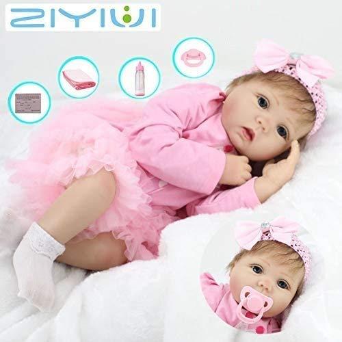 ZIYIUI 22''55 cm Reborn muñecas Suave analógico Vinilo Silicona Realista muñeca bebé Renacimiento vívido Juguete de niña Adecuado para 3 años de Edad
