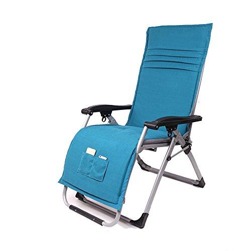 Chair Zhaizhen Chaise longue à bascule inclinable et pliable avec rembourrage en coton pour extérieur, plage, cour (couleur : bleu)