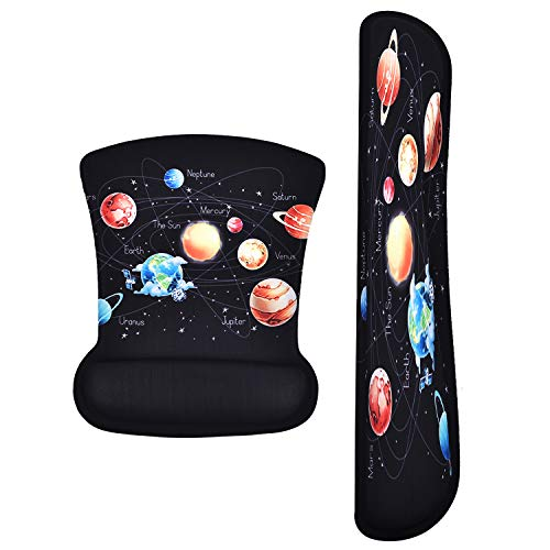 Keyboard Wrist Rest Pad Ergonomic Mouse Pad Set,Cute Gel Mouse Pad for Computer Laptop, Non Slip Mousepad Keyboard Wrist Support Raised Memory Foam for Easy Typing & Pain Relief (Galaxy)