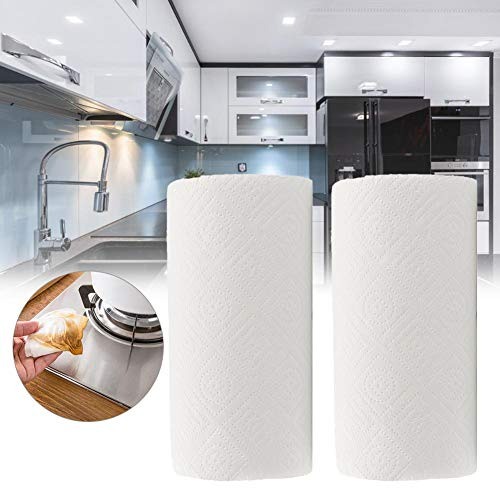 Set 2 Roll Papier Handdoeken Huishoudelijke Tweelaags Papier Handdoeken Tafel Papier Tissue Keukenpapier Handdoeken Pack van 2 Keuken Olie Absorberend Papier Handdoek Rollen Reiniging Tissue