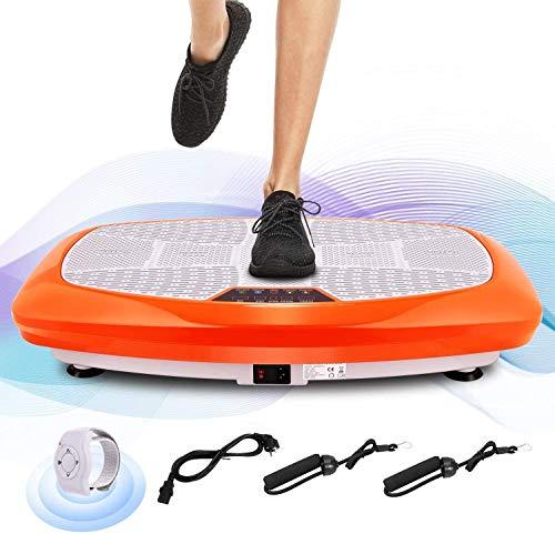 ANCHEER 3D Vibrationsplatte für Body Shape Muskelaufbau, Power Fitness Vibrationstrainer mit Trainingsbändern+ Fernbedienung+ Curved Design, Ganzkörper Oszillation Vibration Plate (orange)