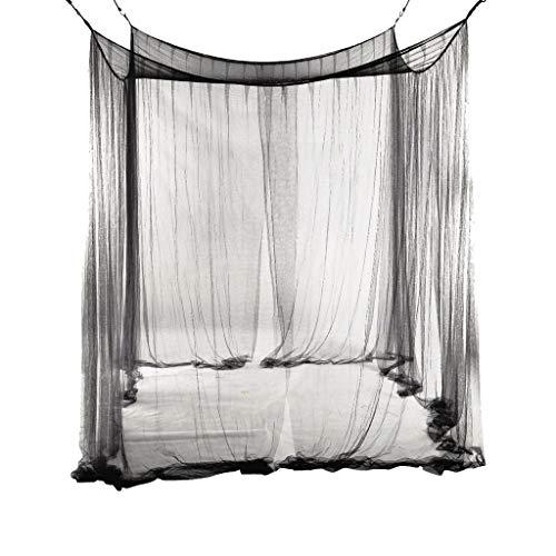 Surdimensionné Maison Moustiquaires De Protection Noir 4 Cadre De Lit Rideaux Draperies Auvent Camping Insectes Filets Contrôle des Moustiques (Color : Black, Taille : 190X210X240CM)