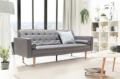 Unbekannt SalesFever Sofa Schlafsofa 205x84x86 cm grau Strukturstoff, Massivholz L = 205 x B = 84 x H = 86 grau