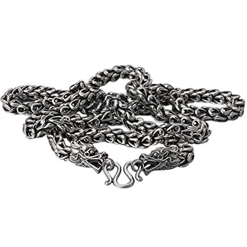 Collar con colgante de joyería fina de plata de ley 925 para hombre, regalo de moda con cabeza de dragón con grabado personalizado retro