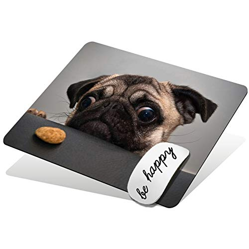 Mouse Pad Cute Pug Dog Pattern Gaming Mousepad Non-Slip Rubber Base Design Mouse Pads for Computers and Laptop Be Happy Computer Stickers