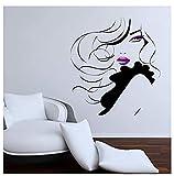 Etiqueta De La Pared Calcomanía Pin Up Girl Women Modern Hair Salon Decal Mural Transfer 57X63cm...