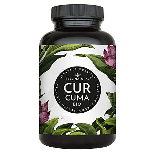 Bio Curcuma (Kurkuma) Kapseln - 240 Stück - 4560mg Bio Curcuma und schwarzer Pfeffer je Tagesdosis - Laborgeprüft. Ohne Magnesiumstearat. Vegan, in Deutschland produziert