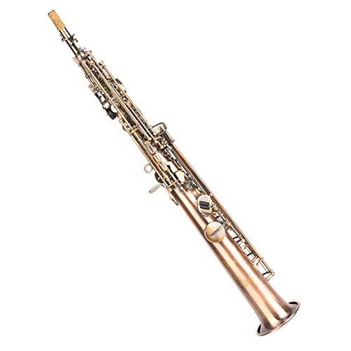Saxofone plano B, saxofone reto de cobre vermelho vintage antigo, sensibilidade entalhada à mão e som preciso para uso profissional.