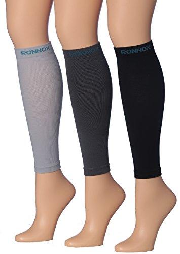 Calf Compression Sleeve 3-Pairs (16-20 mmHg is Best Athletic & Medical for Men & Women,Travel,Running,Nurses,Flight,Edema (CP02-D-M