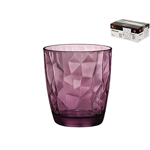 BORMIOLI Rocco Set 6 Bicchieri in Vetro Diamond Acqua Purple 30.5 Arredo Tavola