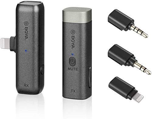 BOYA Micrófono inalámbrico BY-WM3D de 2,4 GHz con adaptador IOS, adaptador TRS y TRRS de 3,5 mm y funda de carga compatible con dispositivos iPhone IOS, DSLR y videocámara..