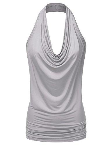 NINEXIS Women's Halter Neck Draped Front Open Back Top Silver XL