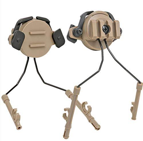 Tactical Helmet Headset Support ARC Adapter/Tactical Helmet Rail (19-21mm) Suspension Headphones Bracket left & Right Side Attachments For Peltor Comtac (tan)