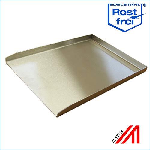 Plancha Grillplatte Edelstahl in verschiedenen Größen - zum Grillen von Fleisch Fisch & Gemüse - Rostfreie Edelstahlplatte mit hoher Temperaturbeständigkeit für Gas- Elektro- & Kohlegrills - 44,5x30cm