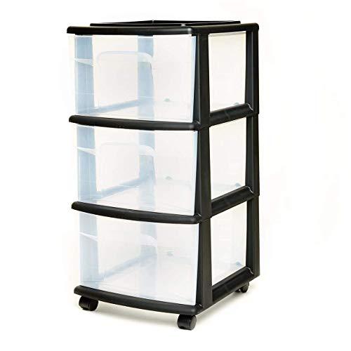 HOMZ 3 Drawer Medium Storage Cart, Set of 1, Black
