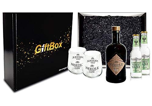 Mixcompany Geschenkset - Needle Blackforest Dry Gin 0,5L (40% Vol) + 2 x Needle Glas + 2 x Fever-Tree Elderflower Tonic Water 0,2l MEHRWEG inkl. Pfand- Needle Blackforest Gin Geschenk Set