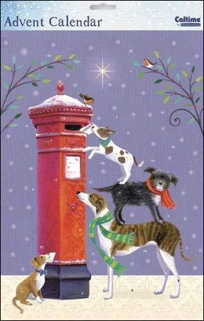 Caltime artistieke adventskalender - kerstbericht - schattige honden schrijven - afgewerkt met prachtige glitterlak - geschikt voor zowel volwassenen als kinderen (WDM-435201)