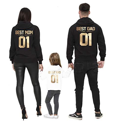 Familien Hoodie Best Dad Mom Kid 01 in Gold (S, Mom-Hellgrau)