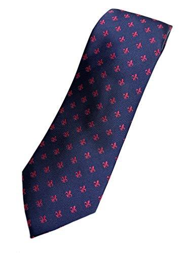 PB Pietro Baldini Herren Krawatte blau 100% Seide Fleurs de Lis Muster Lilie in fuchsia. Edel Männer-Design für Business, Hochzeit, 8 cm breit