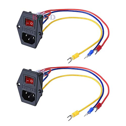 BZ 3D 15A 250V Rocker Switch Power Socket Inlet Module Plug 5A Fuse Switch with 5Pcs 16-14 AWG Wiring 3 Pin IEC320 C14Pack of 2pcs (with Cable)