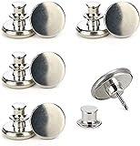 RZKJ Botón instantáneo para vaqueros sin costuras, botones desmontables, botón de ajuste fácil, botones de metal para pantalones vaqueros, pantalones, manualidades, color plateado, 4 unidades
