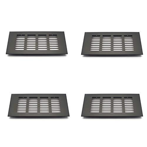 T Tulead Matte Black Rectangular Vent Cover Aluminum Alloy Soffit Vents Return Vent Air Vent (7.9