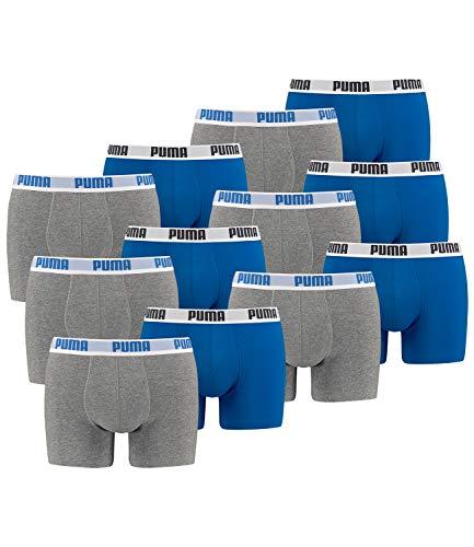 PUMA Herren Boxershorts Unterhosen 521015001 12er Pack , Wäschegröße:M;Artikel:Blue / Grey