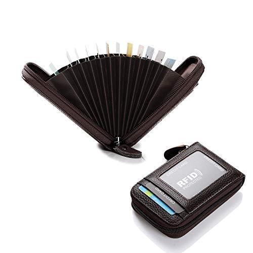 EXQULEG Leder Kreditkartenetui Geldbörse, RFID Schutz Scheckkarten, Ziehharmonika-Kreditkartenetui Geldbörse Damen Herren 12 Fächer (Schwarz)
